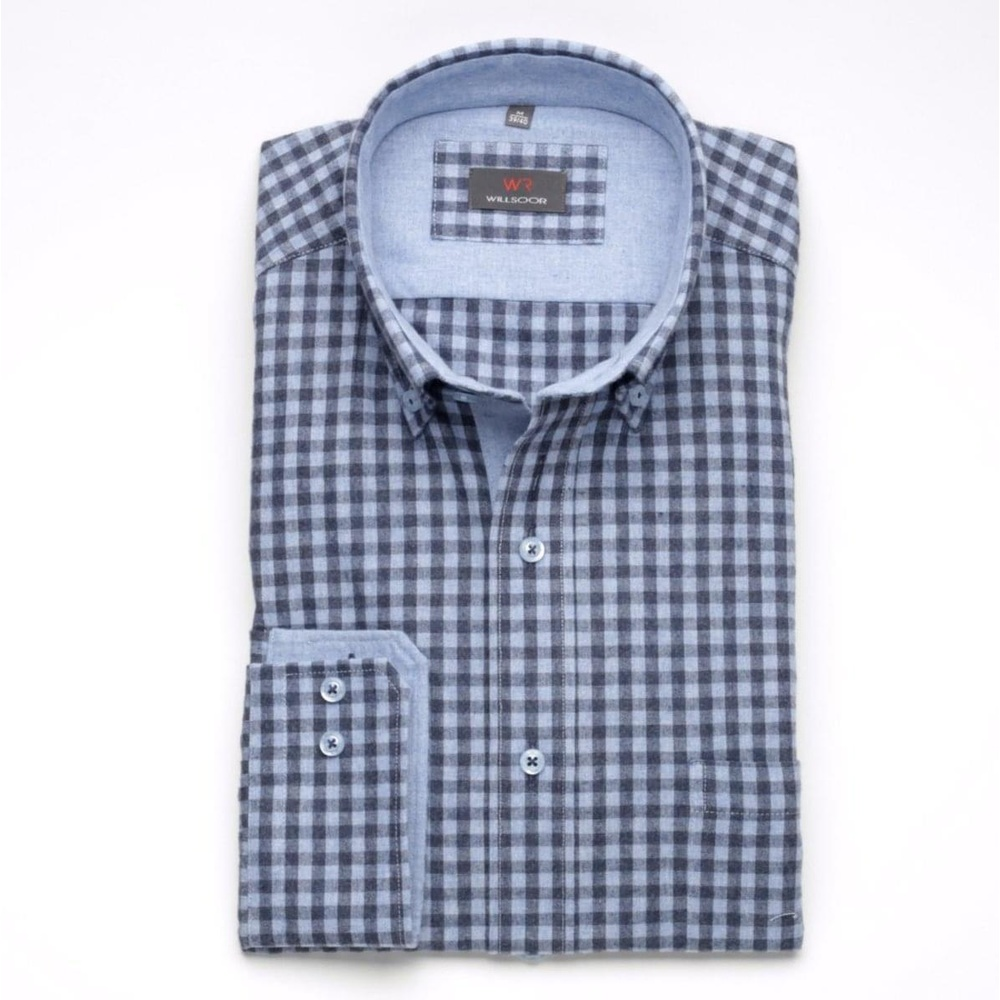 Men shirt Slim Fit in blue color with checked (height 176-182) 5573