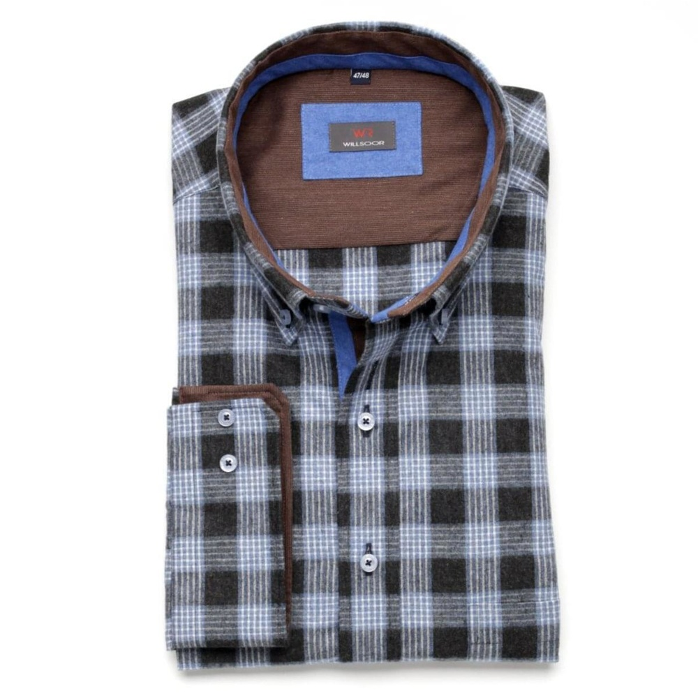 Men shirt Classic in black color with checked (height 188-194) 5585