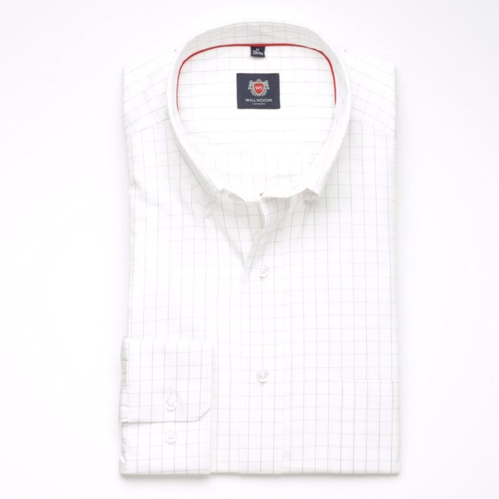 Men shirt London in white color with checked (height 176-182) 5593