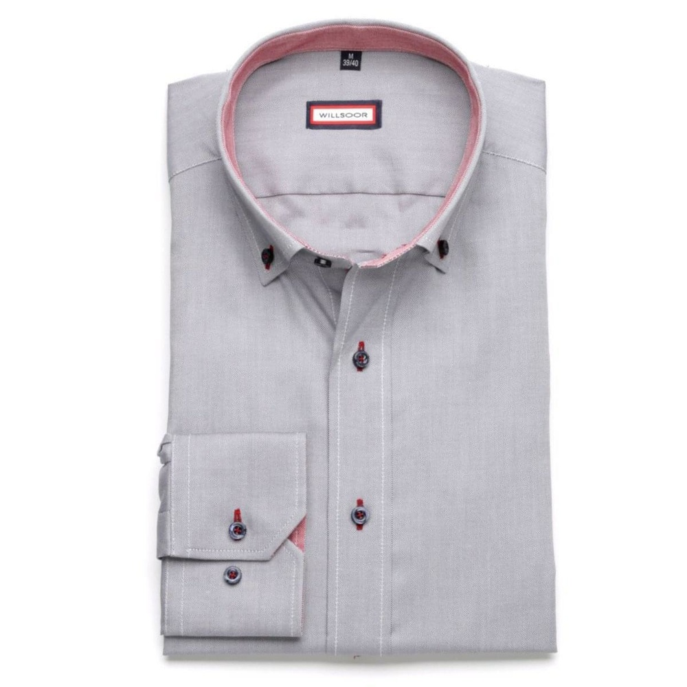 Men shirt Slim Fit in gray color (height 176-182) 5813 in gray color