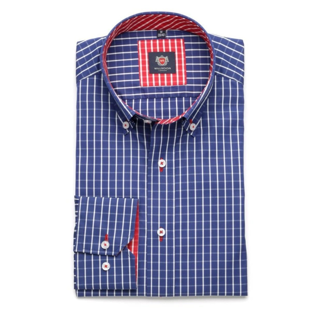 Men shirt London (height 176-182) 5820 in blue color with checked