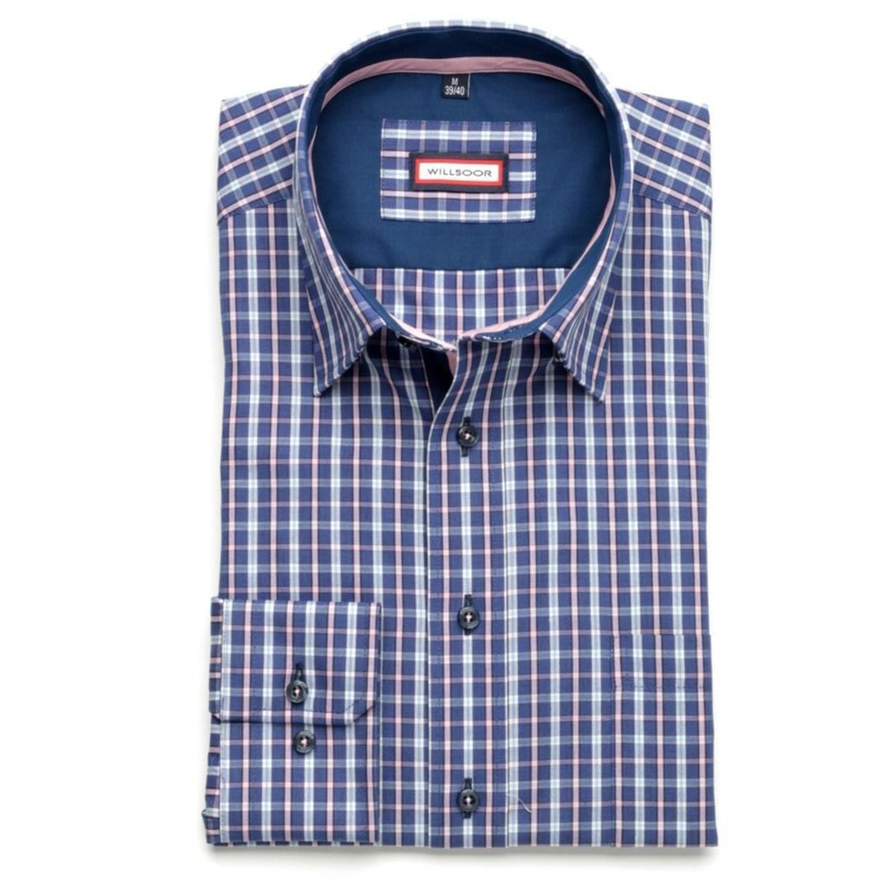 Men shirt Slim Fit (height 176-182) 5848 in blue color with checked