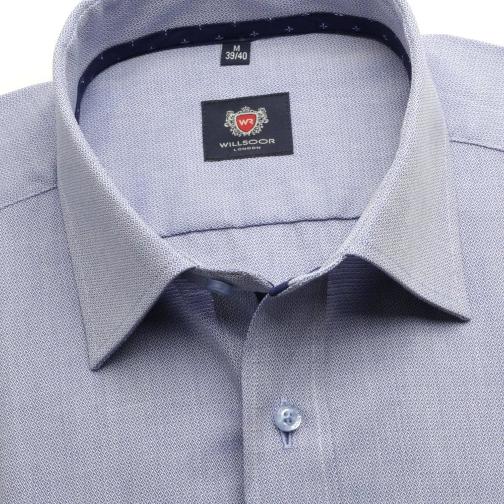 Men classic shirt London (height 176-182) 6129 in gray-blue color with formula Easy Care