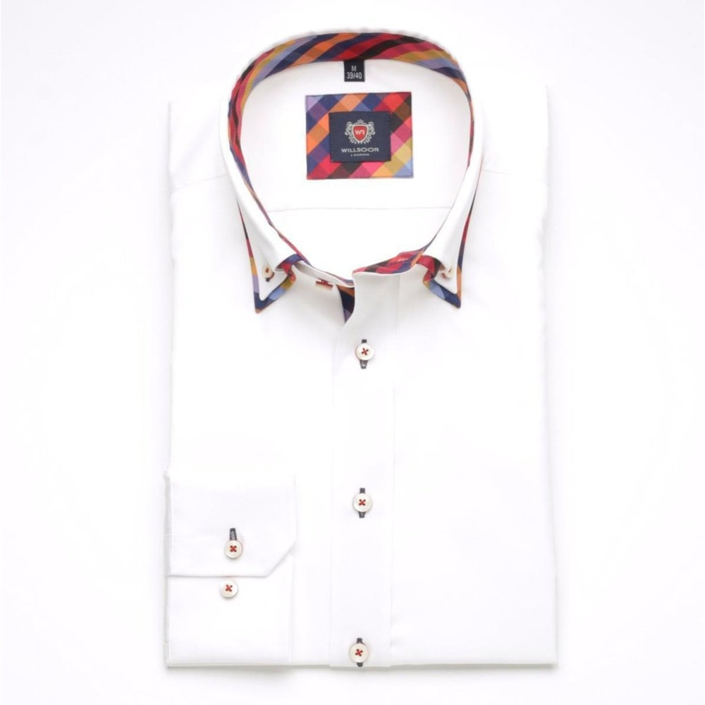 Men slim fit shirt London (height 176-182) 6189 in white color with formula Easy Care