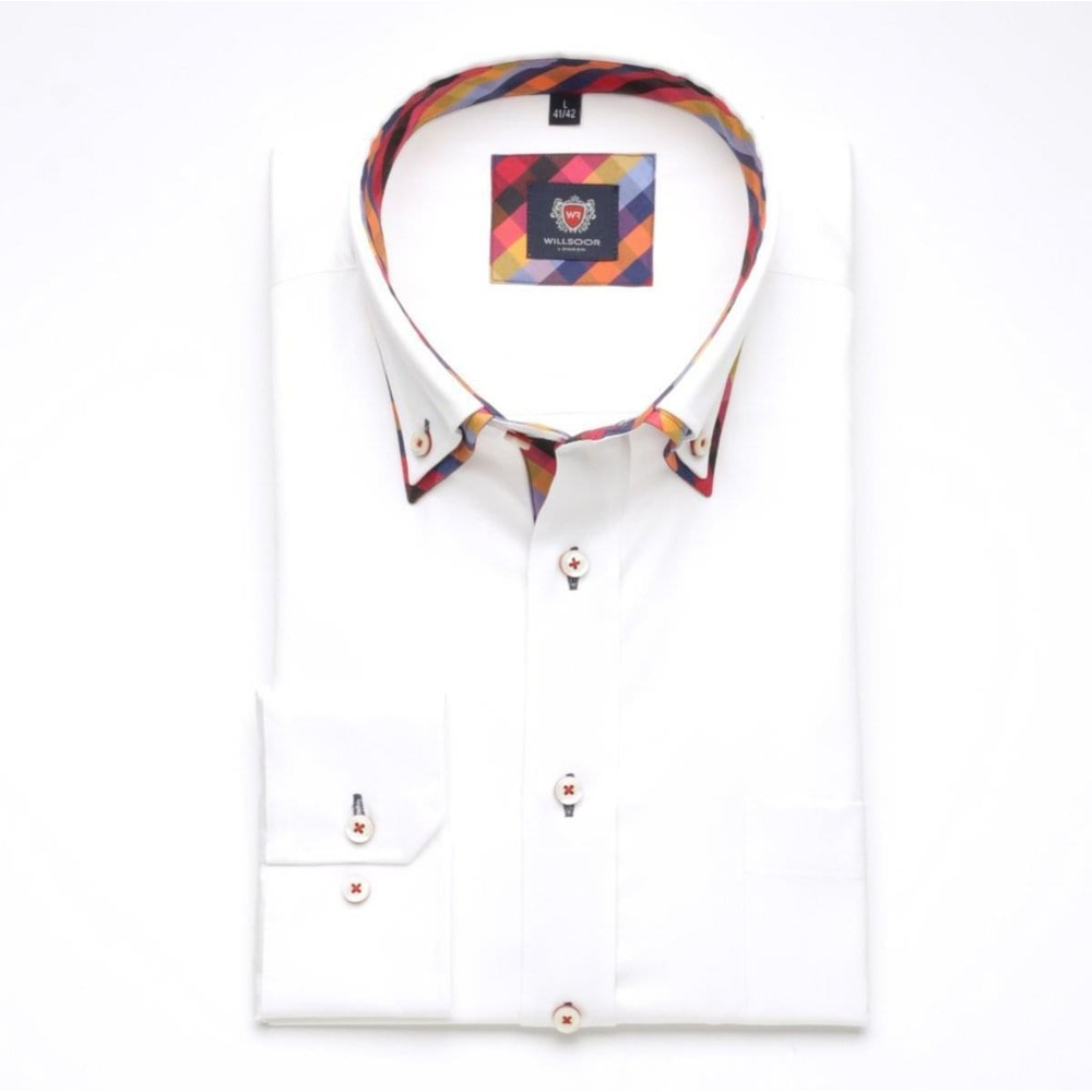 Men classic shirt London (height 176-182) 6190 in white color with formula Easy Care