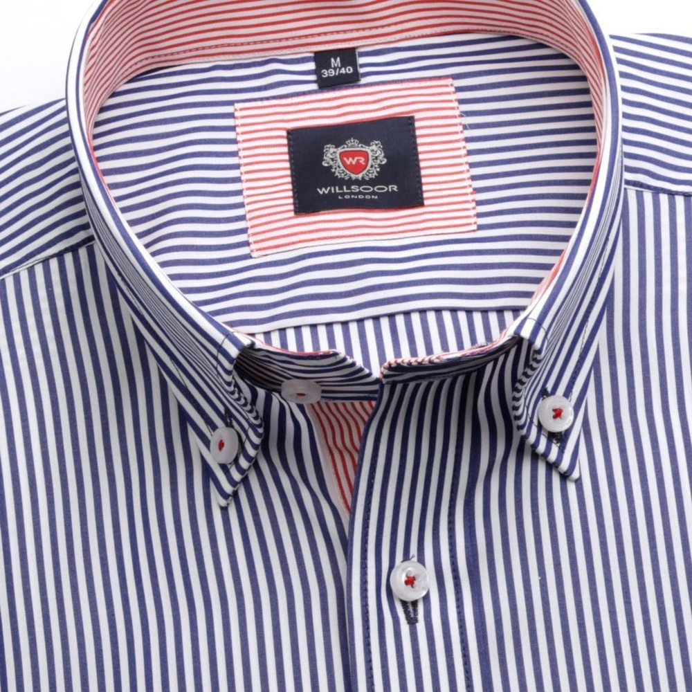 Men slim fit shirt London (height 176-182) 6191 with blue-white strip a formula 2 W Plus