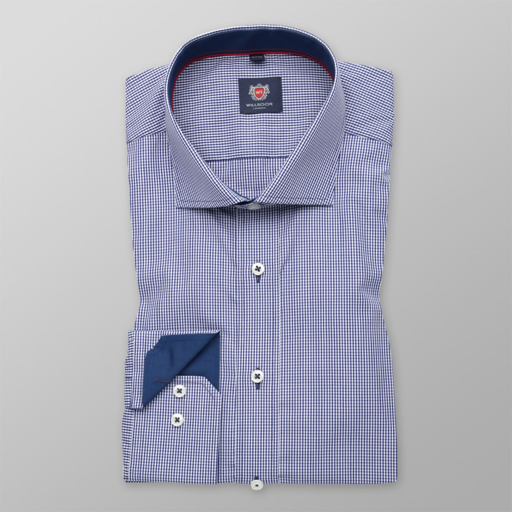 Men slim fit shirt London (height 176-182) 6193 with white-blue checked