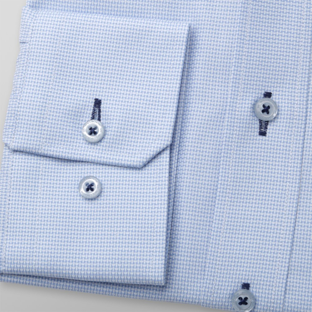 Men slim fit shirt London (height 176-182) 6238 in light blue color with fine micro pattern