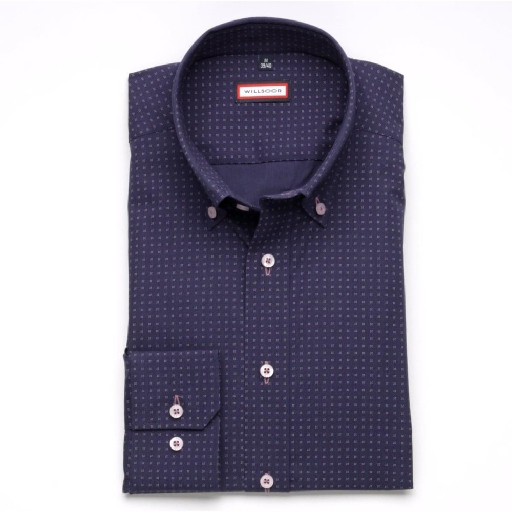 Men slim fit shirt (height 176-182) 6265 in dark purple color with collar to cufflinks