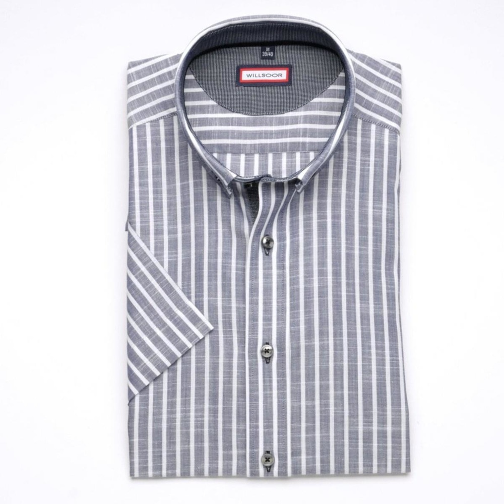 Men slim fit shirt (height 176-182) 6275 in gray color with short sleeve