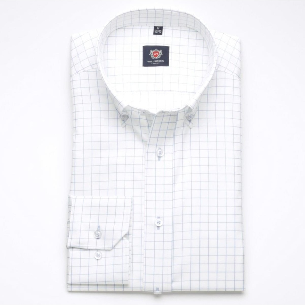 Men slim fit shirt London (height 176-182) 6315 in white color with formula Easy Care