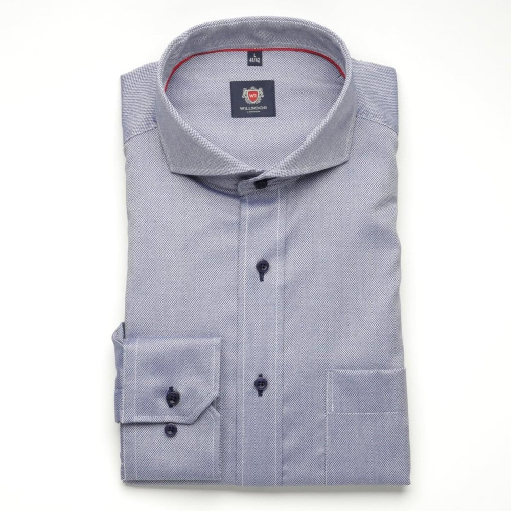 Men classic shirt London (height 176-182) 6326 in blue color with adjusting easy care