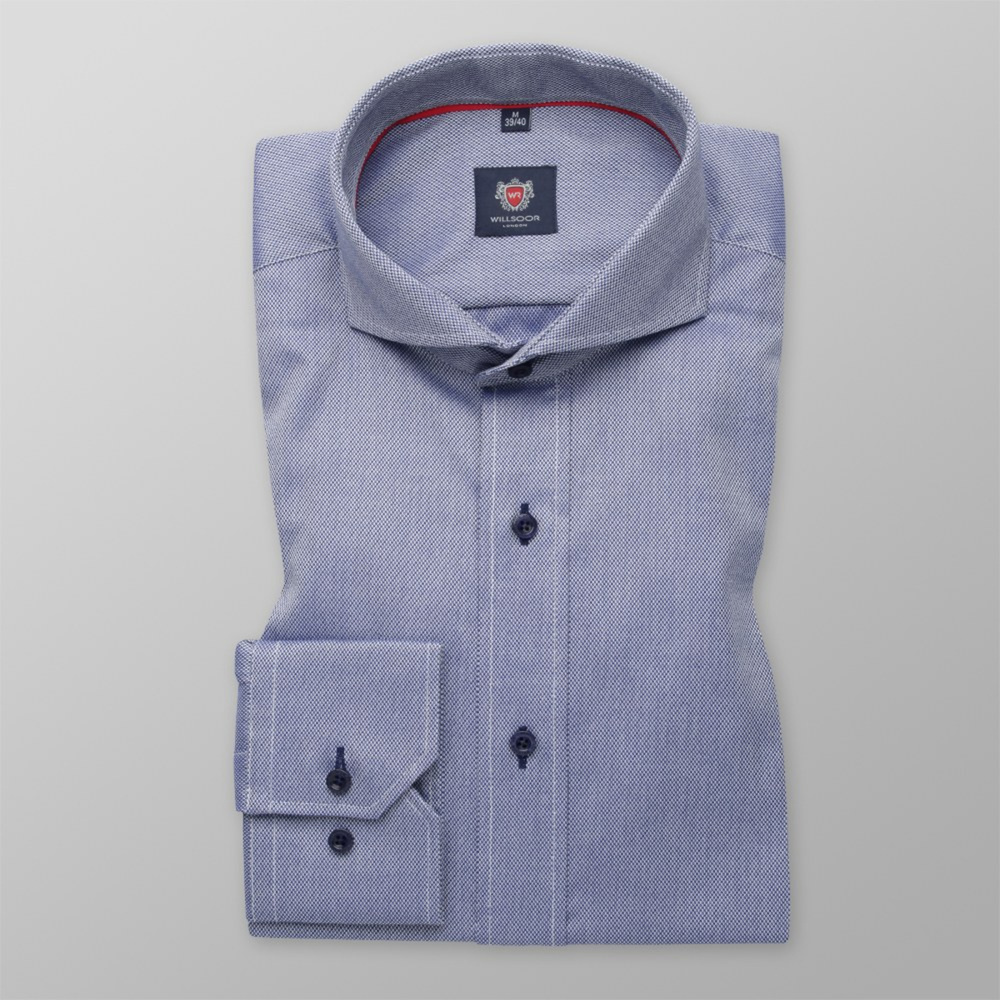 Men slim fit shirt London (height 188-194) 6327 in blue color with adjusting easy care