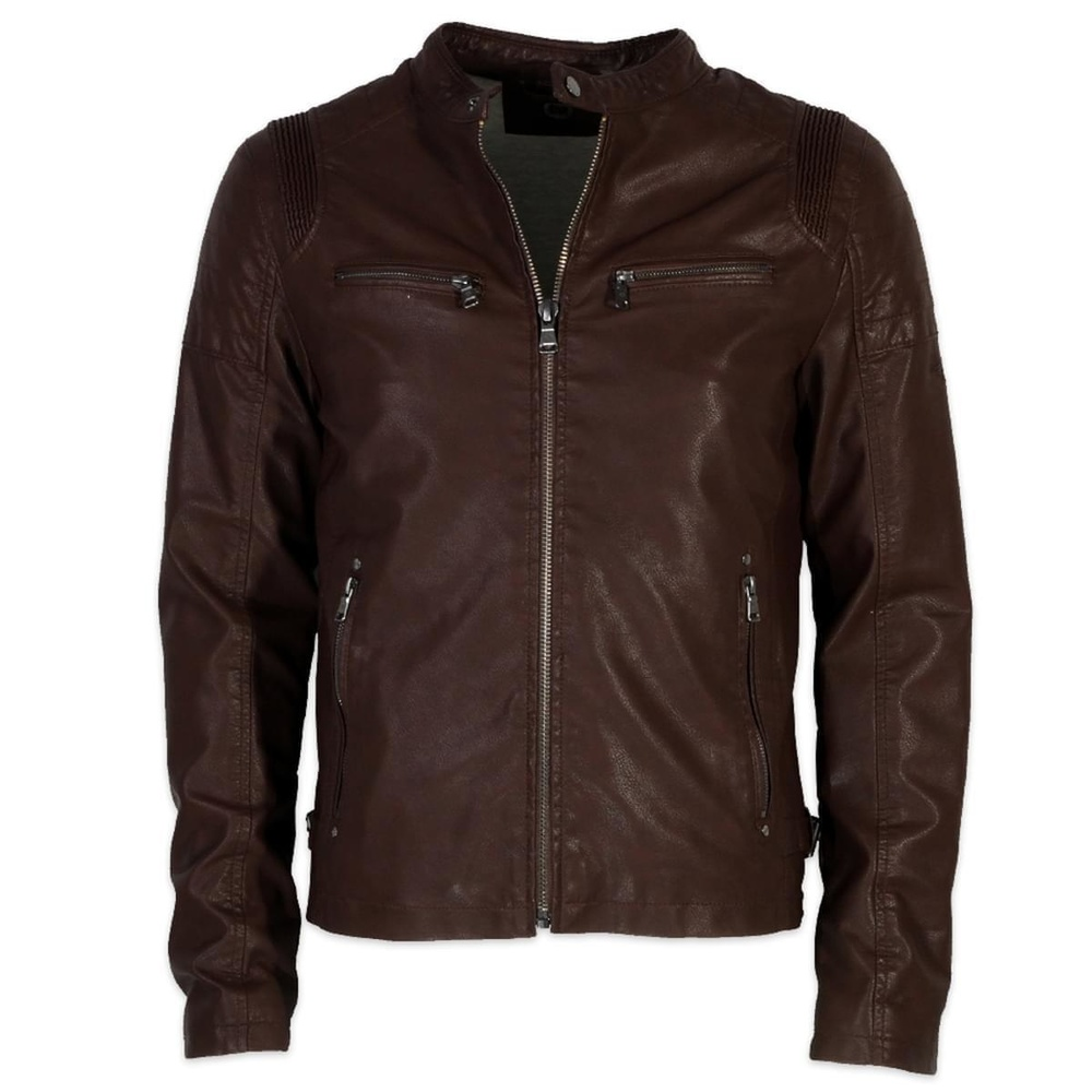 Men jacket of ecological skin Donders 6378 in brown color ...