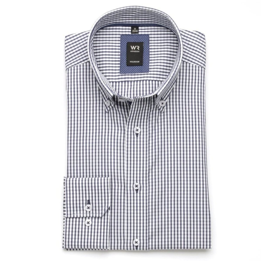 Men slim fit shirt London (height 176-182) 6396 in white color with blue checked