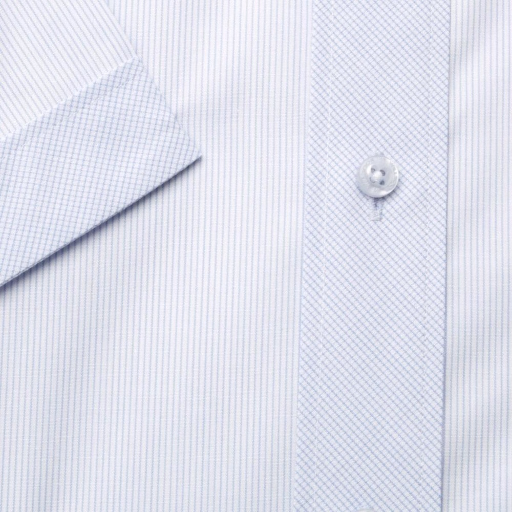 Men slim fit shirt (height 176-182) 6410 in white color with strips a short sleeve