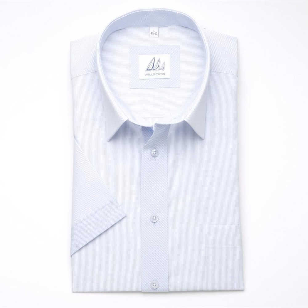 Men classic shirt (height 176-182) 6411 with short sleeve in white color with strips