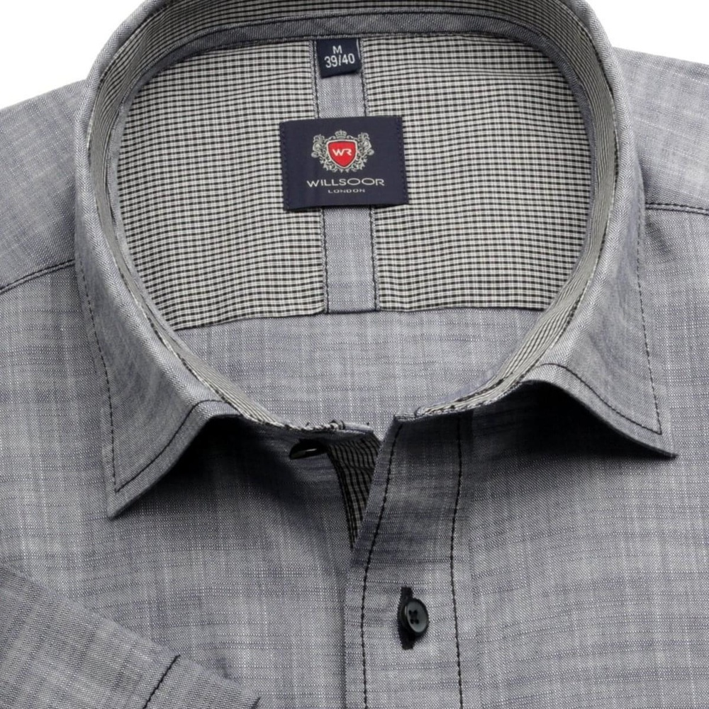 Men slim fit shirt London (height 176-182) 6480 with short sleeve in gray color