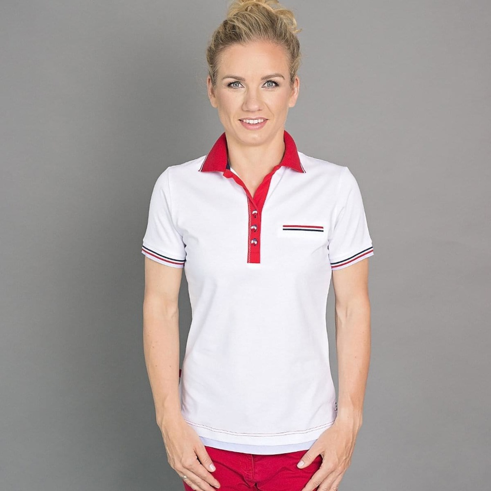 Women Polo T Shirt 6503 In White Color With Red Collar Willsoor