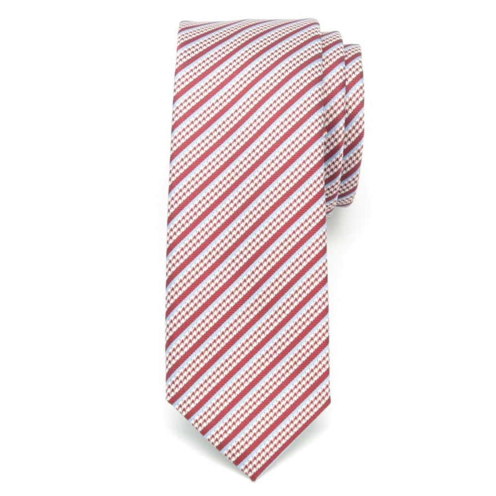 Men narrow tie (pattern 1205) 6544 in red color