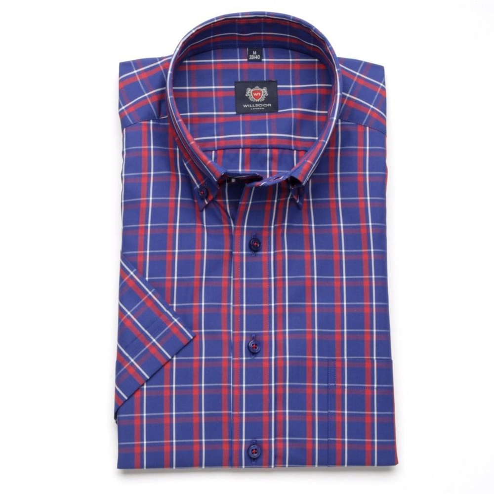 Men classic shirt London (height 176-182) 6559 in blue color with formula Easy Care