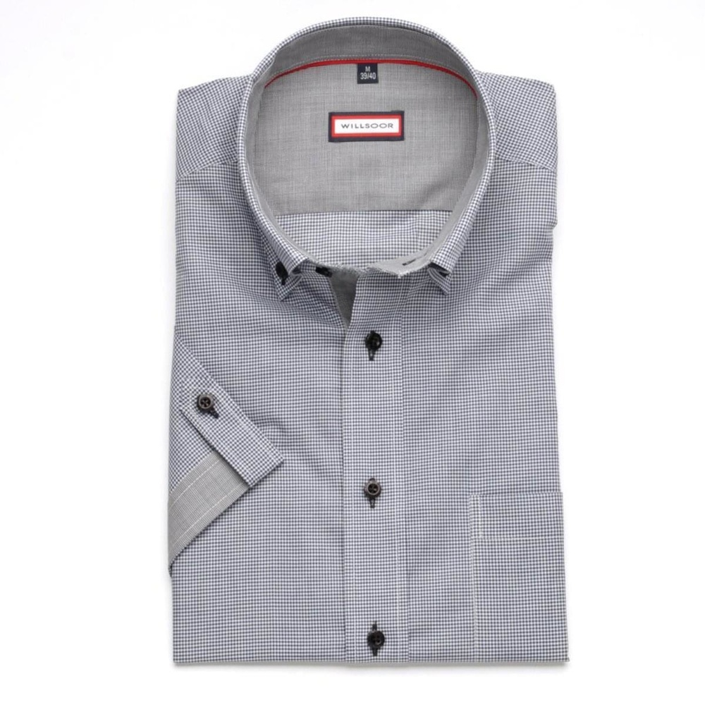 Men slim fit shirt (height 176-182) 6611 with short sleeve a fine blue checked