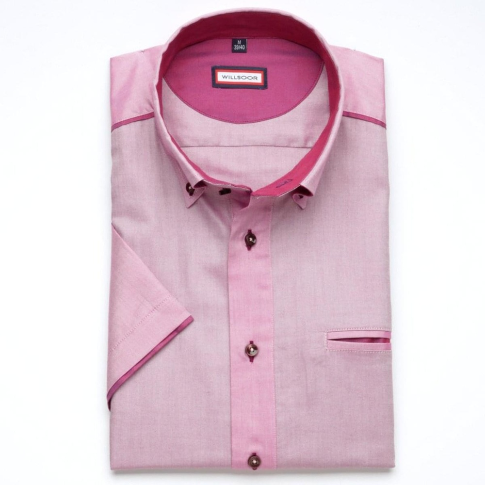 Men classic shirt (height 176-182) 6630 in violet color with short sleeve
