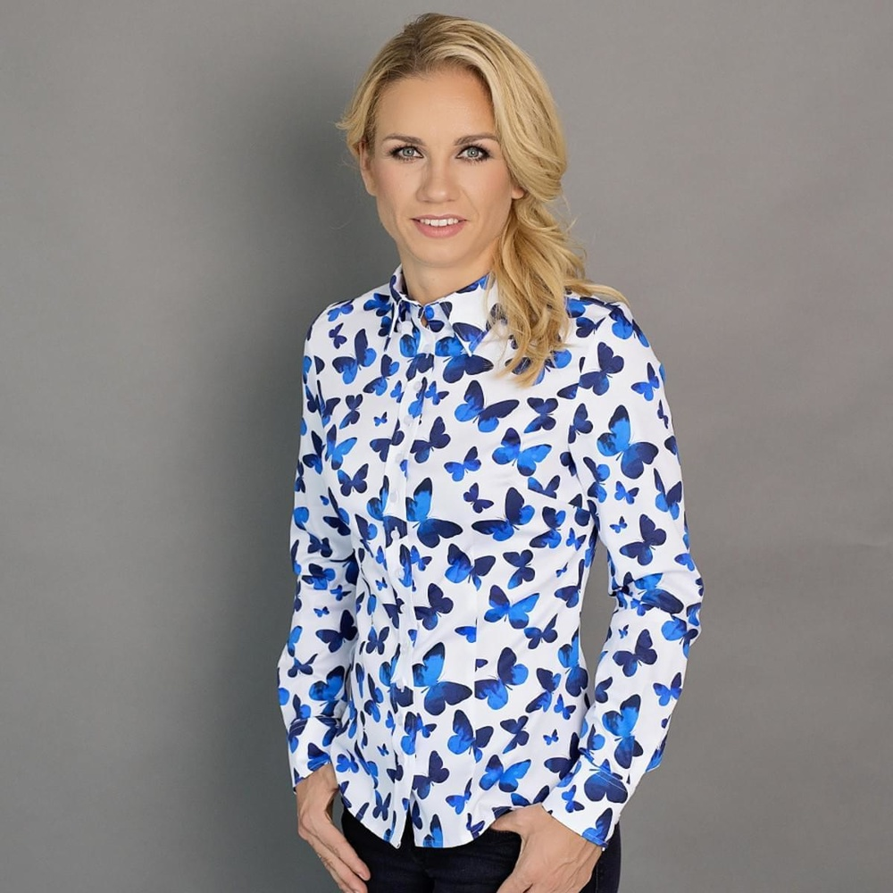 Women shirt Willsoor 6644 in white color with pattern blue butterflies