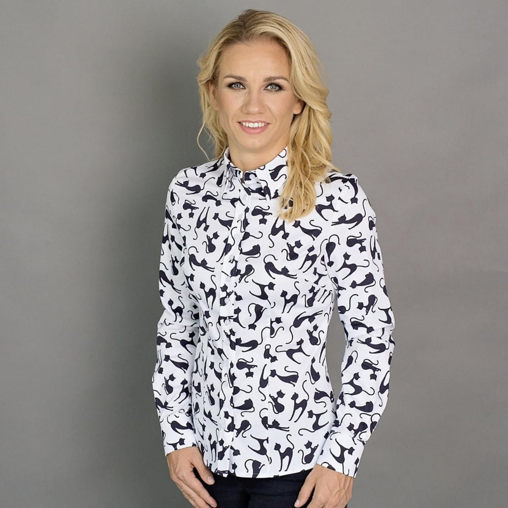 Women shirt Willsoor 6645 in white color with pattern cats