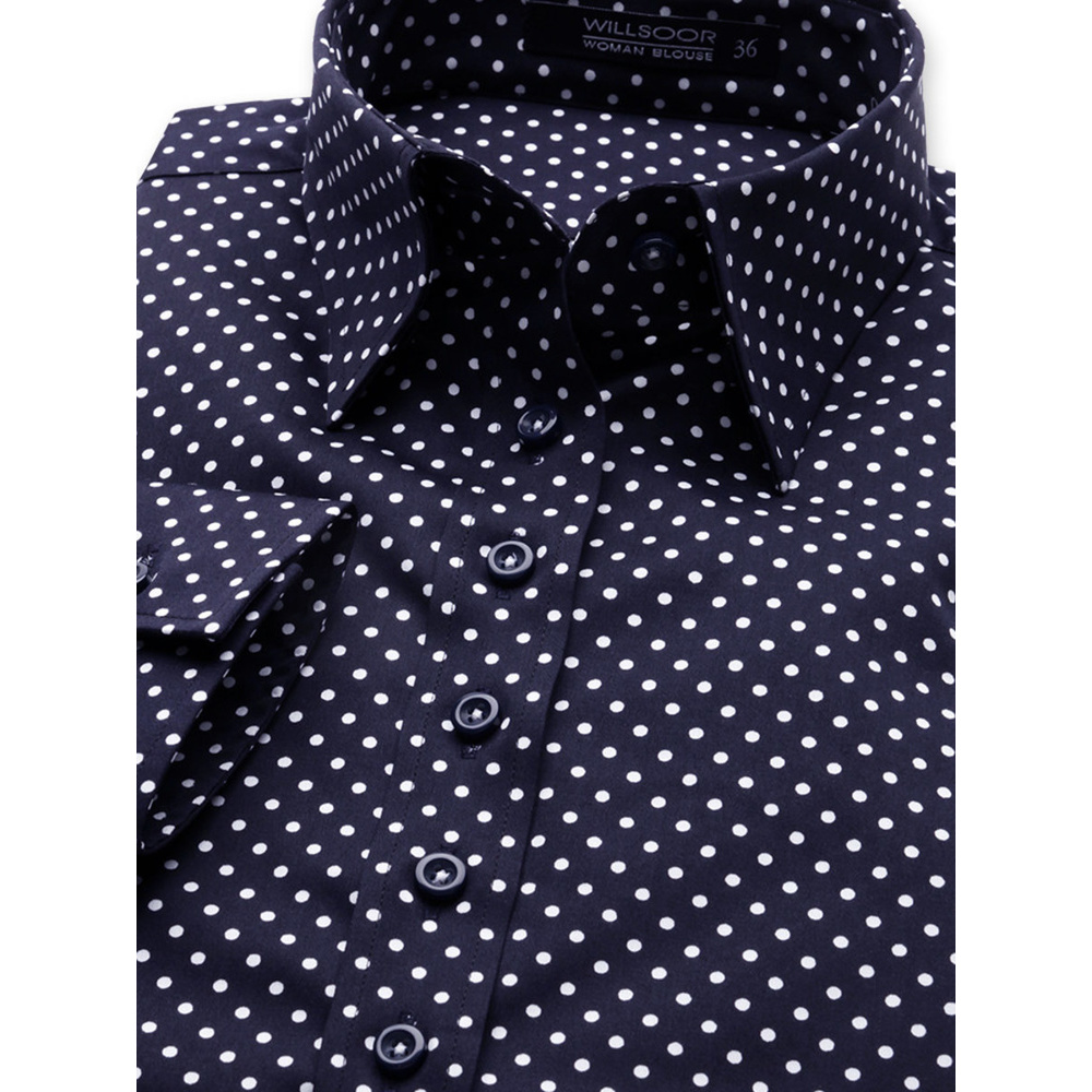 Women shirt Willsoor 6662 in dark blue color with white dots
