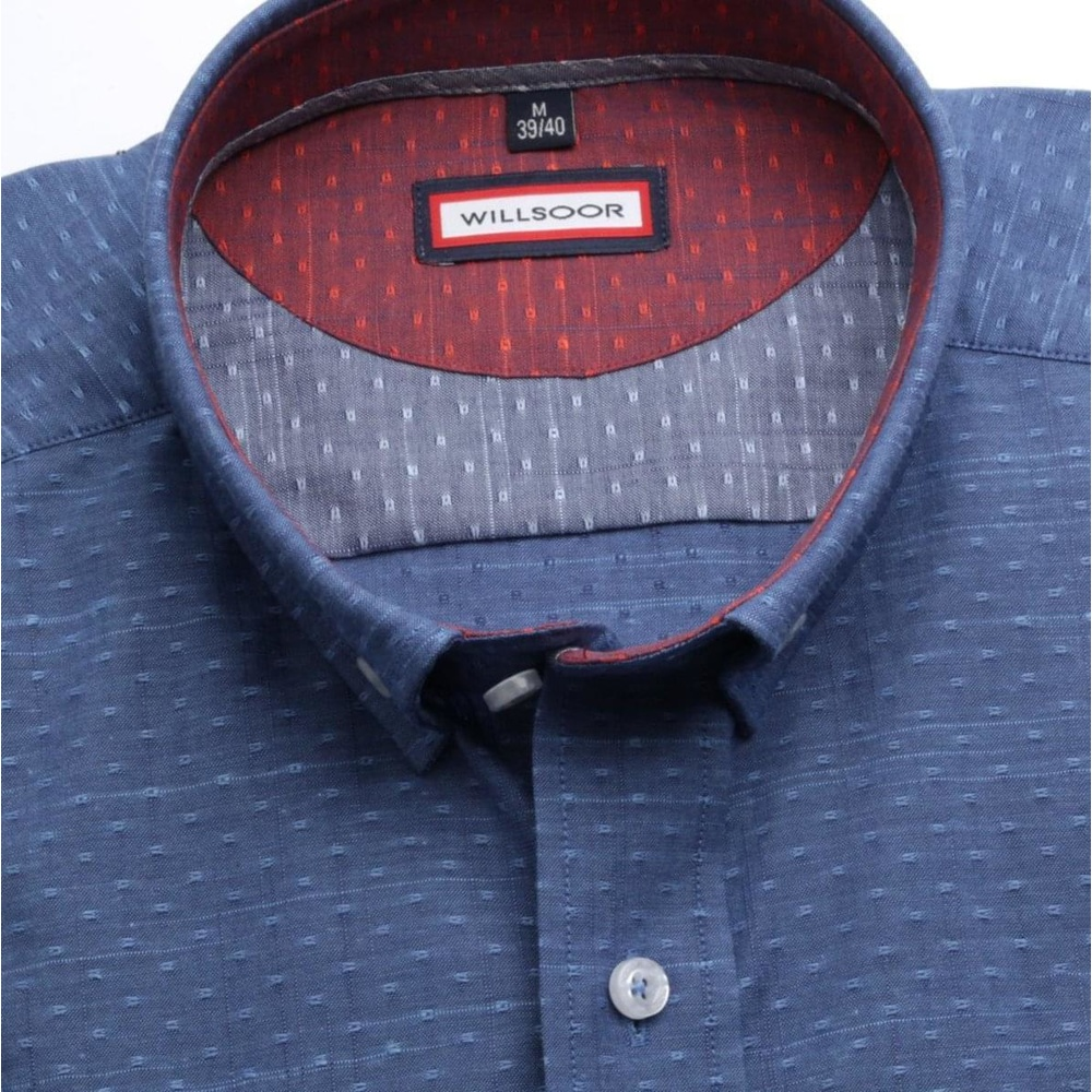 Men slim fit shirt (height 176-182) 6709 in blue color with short sleeve