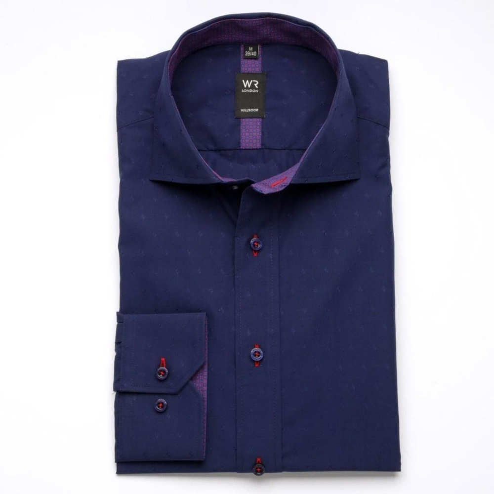Men slim fit shirt London (height 176-182) 6794 in dark blue color with formula Easy Care