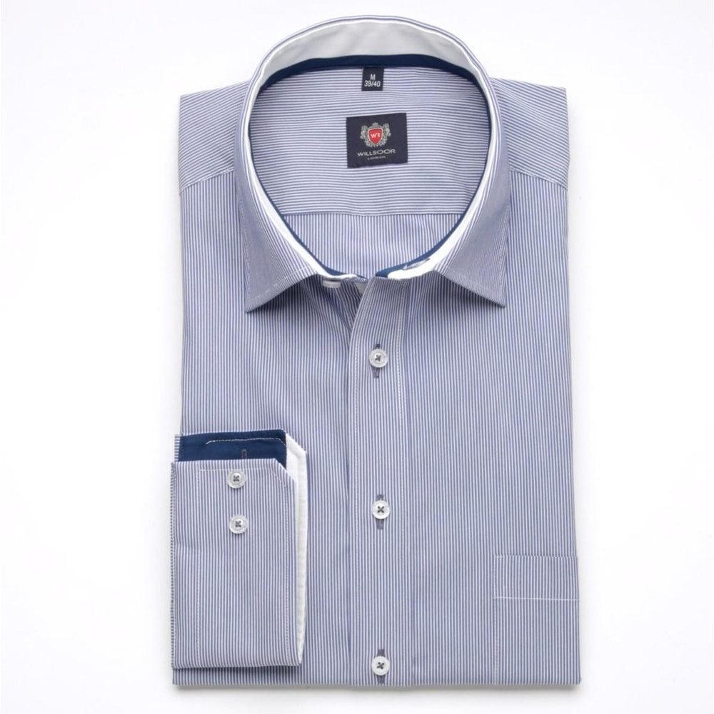 Men slim fit shirt London (height 188-194) 6881 in blue color with strip