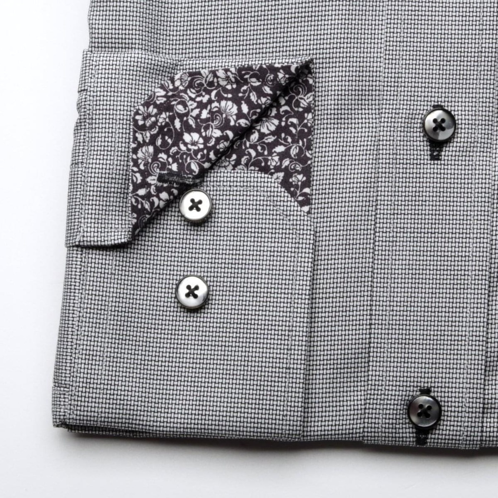 Men slim fit shirt London (height 176-182) 6893 in gray color with collar to cufflinks