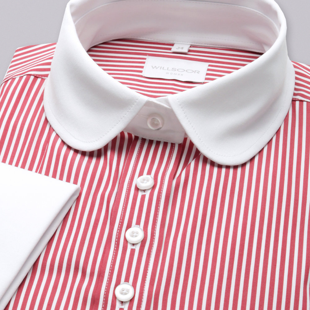 Women shirt Willsoor 7341 with strips a rounded collar