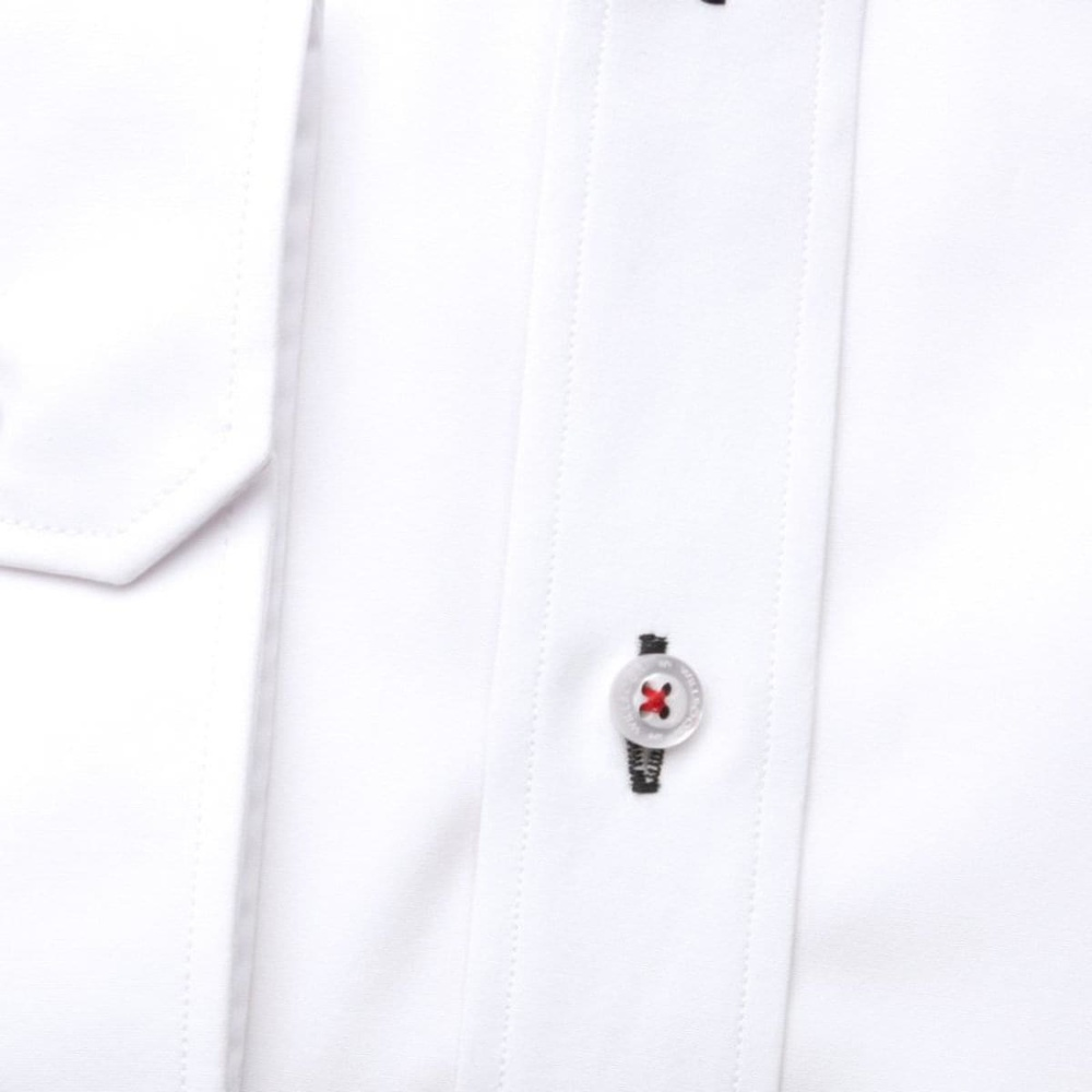 Men classic shirt (height 176-182 I 188-194) 7485 in white color with adjusting 2W Plus