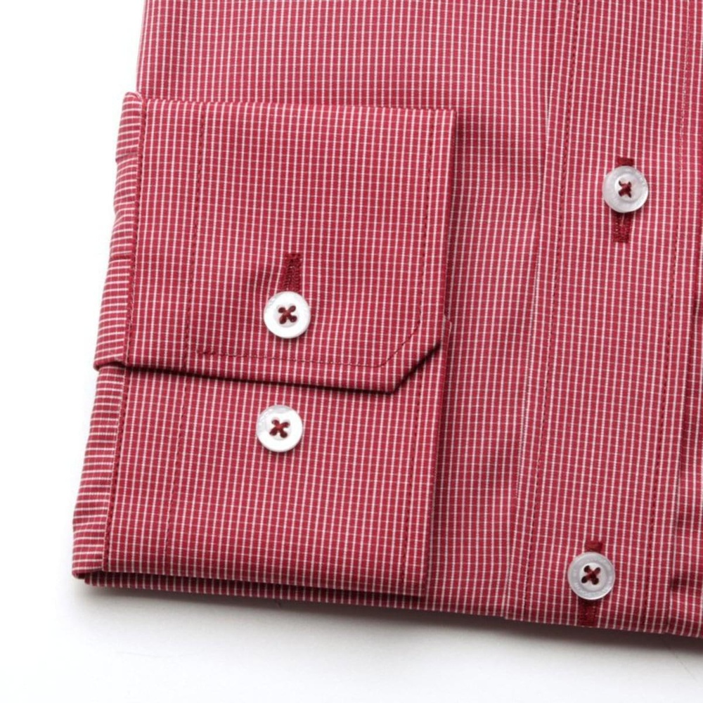 Men slim fit shirt (height 176-182) 7490 in claret color with checked pattern