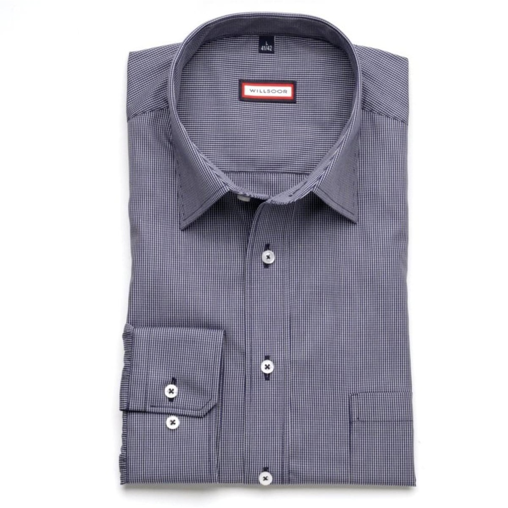 Men classic shirt (height 176-182) 7496 in blue color with checked