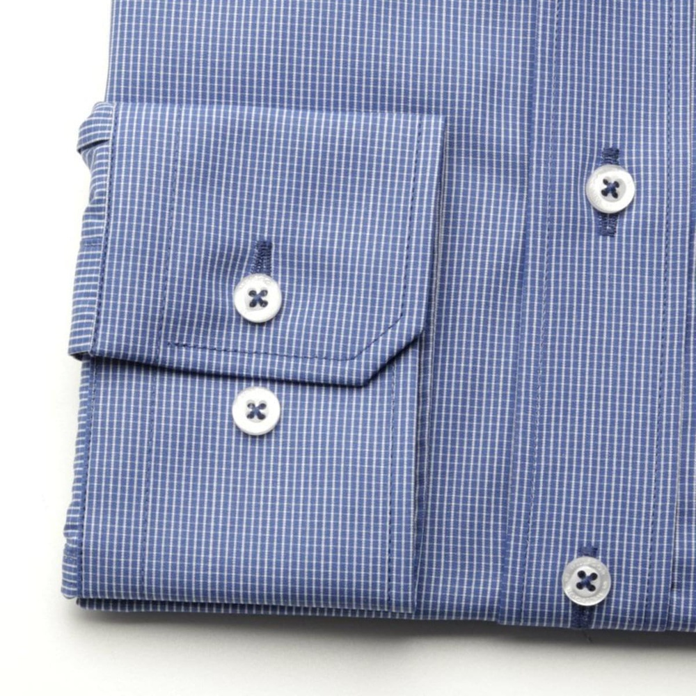 Men slim fit shirt (height 176-182) 7497 in blue color with checked
