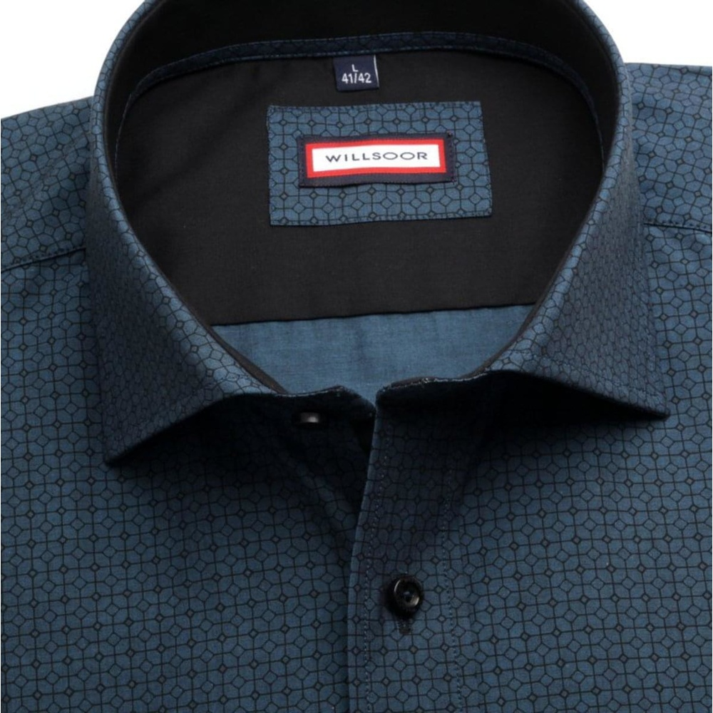 Men slim fit shirt (height 176-182) 7564 in blue color with adjusting