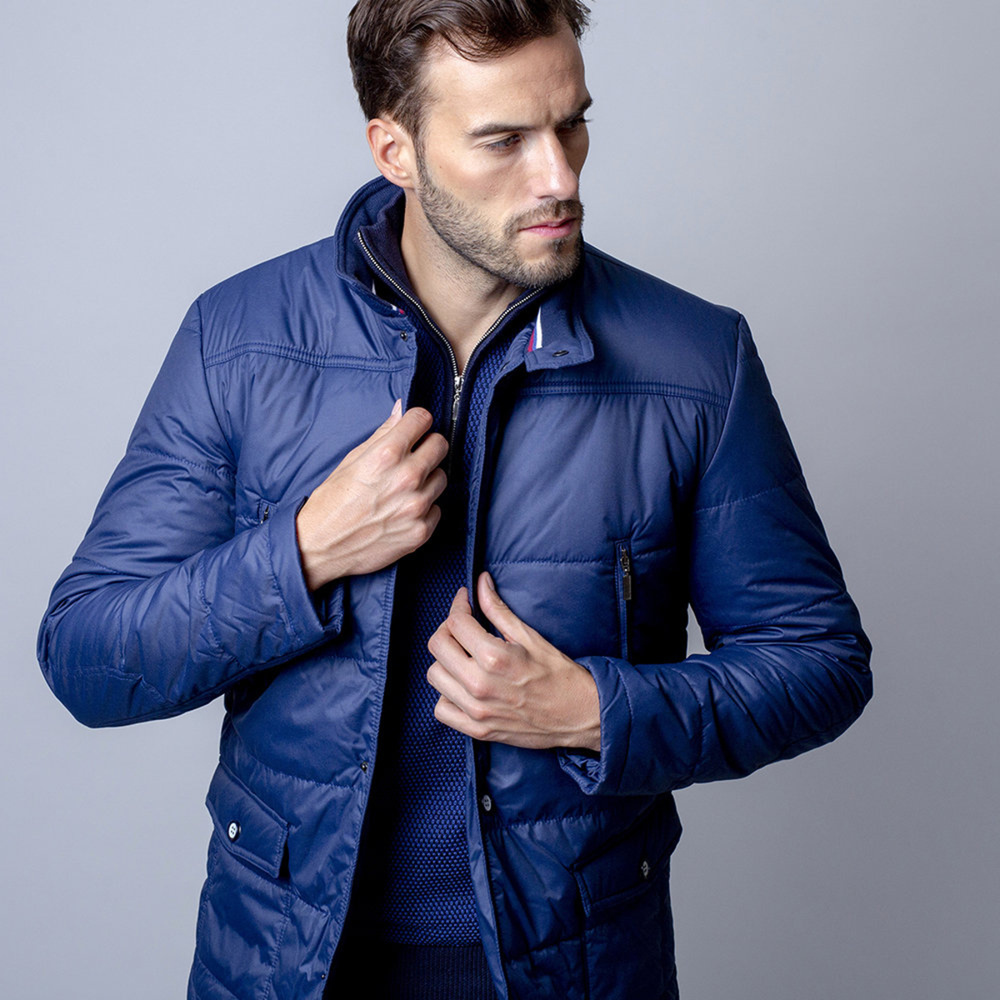 Men quilted jacket (height 188-194 to 5XL) 7596 in dark blue color