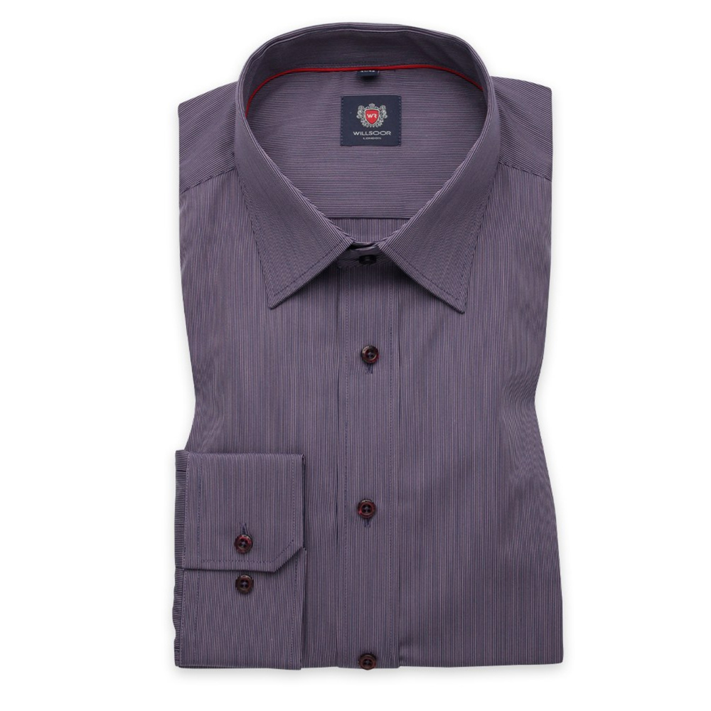 Men slim fit shirt London (height 176-182) 7605 in purple color with adjusting