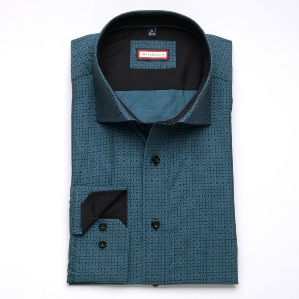 Men slim fit shirt (height 176-182) 7614 in turquoise color with adjusting Easy Care