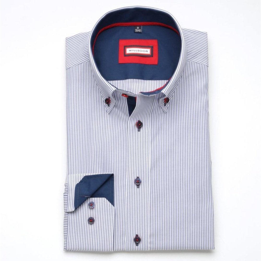 Men slim fit shirt London (height 176-182) 7649 in white color with strips a adjusting easy motorcyc