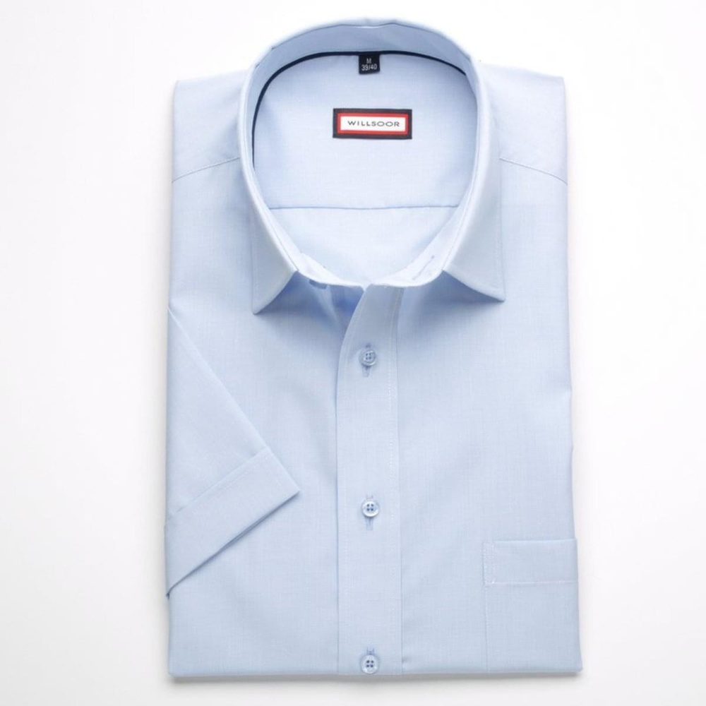 Men slim fit shirt with short sleeve (height 176-182) 7745 in blue color with adjusting easy motorcy
