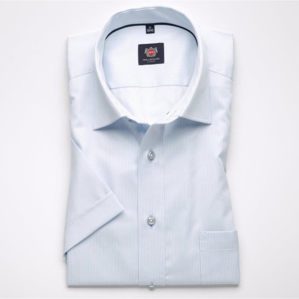 Men slim fit shirt with short sleeve London (height 176-182) 7753 in blue color with adjusting easy