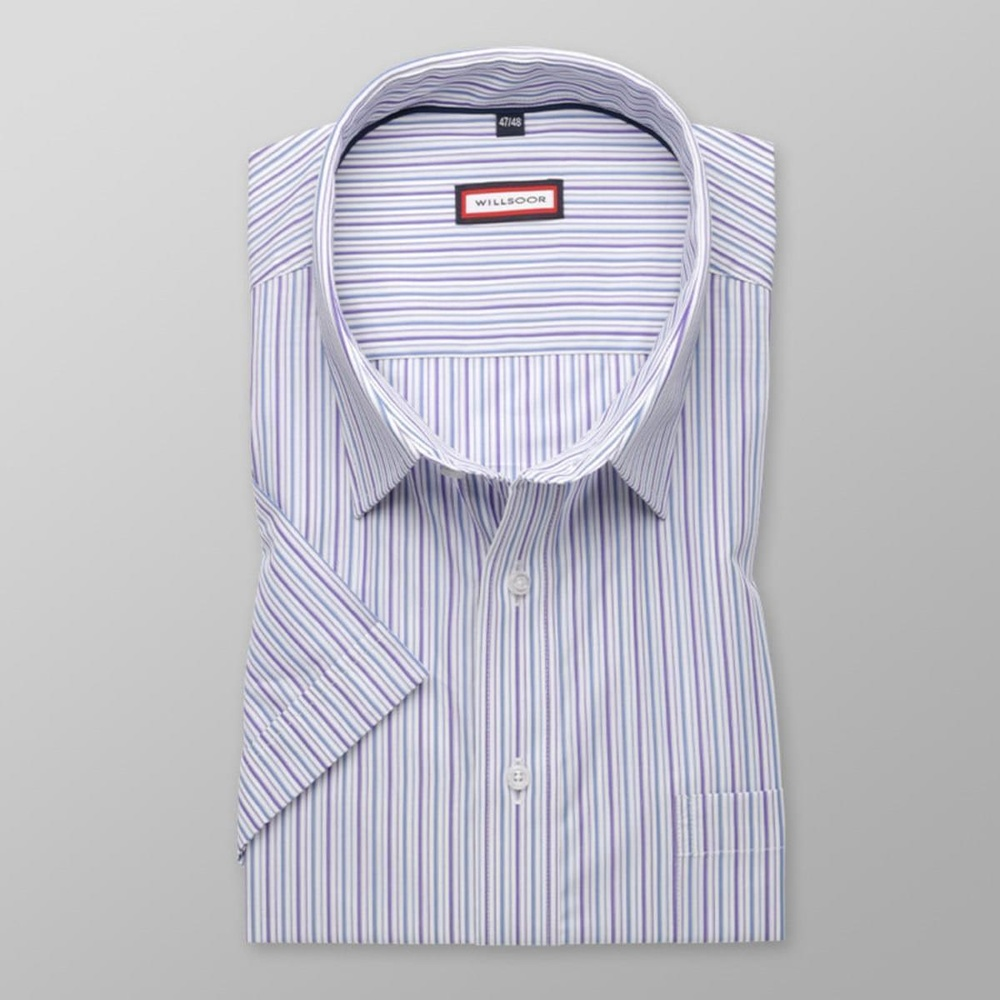 Men classic shirt with short sleeve (height 176-182) 7781 in white color with adjusting easy motor