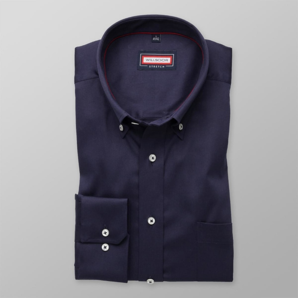 Men classic shirt (all height) 7797 in dark blue color with adjusting easy care