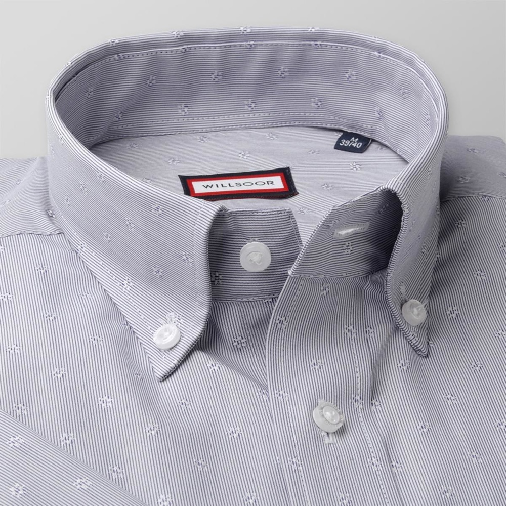 Men classic shirt with short sleeve (height 176-182) 7823 with strips a adjusting easy care