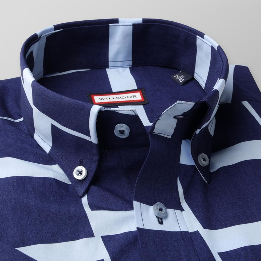 Men slim fit shirt with short sleeve (height 176-182) 7828 in blue color with adjusting easy motorcy